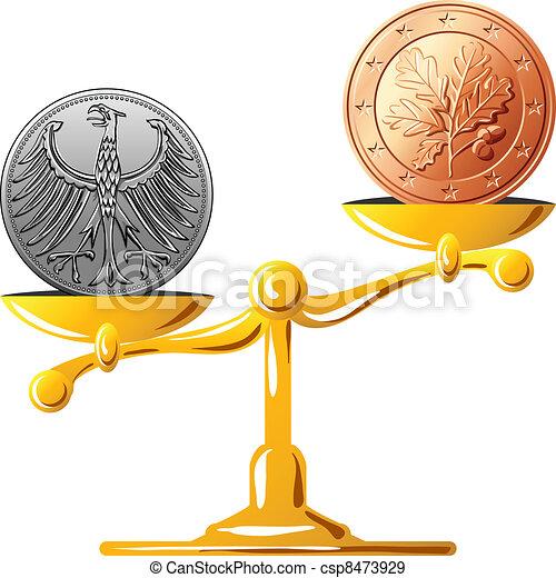 vector German mark versus the euro - csp8473929