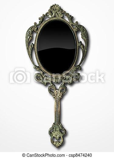 Stock fotografie von uralt hand spiegel auf wei es for Miroir de poche ancien