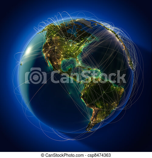 Major global aviation routes on the globe - csp8474363