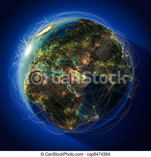 Major global aviation routes on the globe - csp8474364