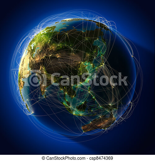 Major global aviation routes on the globe - csp8474369