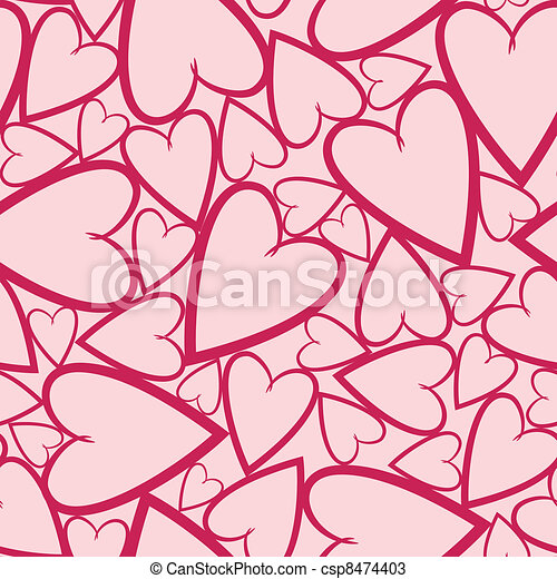 Romantic seamless pattern with hear - csp8474403