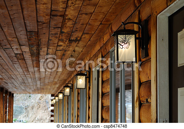 Outdoor Lighting Fixtures At A Log Cabin Motel