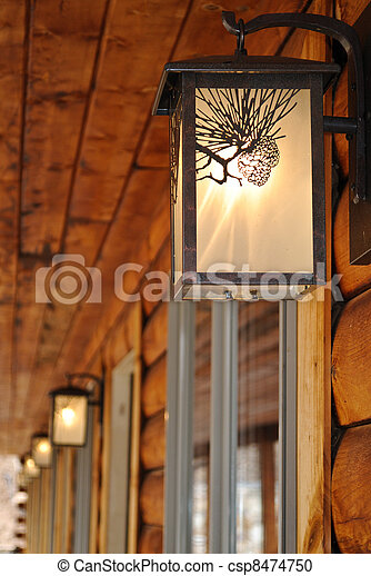 Log Cabin Motel Light - csp8474750