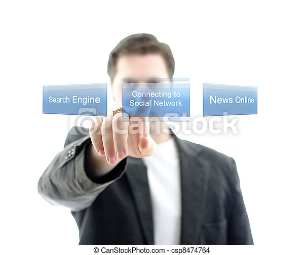 Business man pushing button Social Network on a touch screen interface. Isolated on white. - csp8474764
