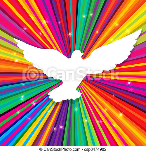 Dove silhouette on psychedelic colored abstract background. Vector, EPS10 - csp8474982