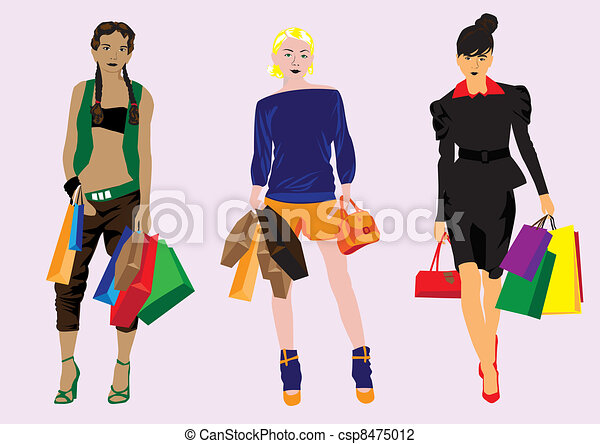 girl with shopping - csp8475012