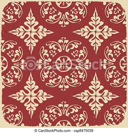Vintage grungy pattern. Vector background, EPS10. - csp8475039