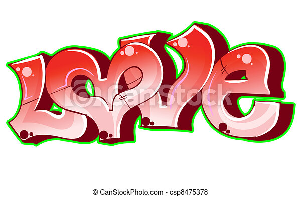 Graffiti urban art. Love - csp8475378