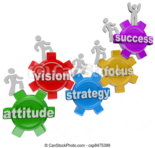 Vision Strategy Gears People Rise to Achieve Success - csp8475399