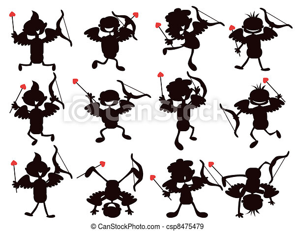 cute cartoon style of cupid silhouettes  - csp8475479