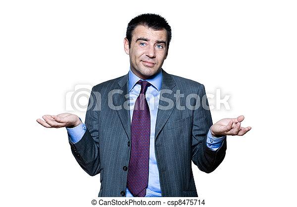Portrait of confused man gesturing - csp8475714