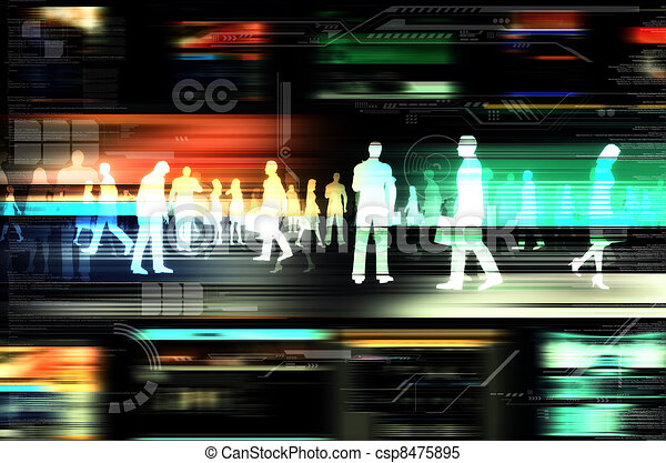 Virtual people doing business inside the virtual world of internet. Illustrated with flashing website, and hitech elements of design. - csp8475895