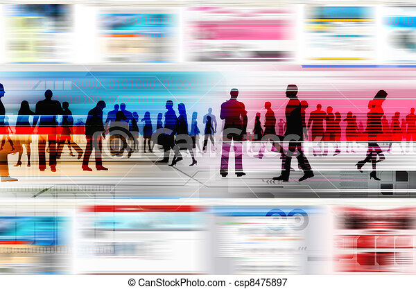 Virtual people doing business inside the virtual world of internet. Illustrated with flashing website, and hitech elements of design. - csp8475897