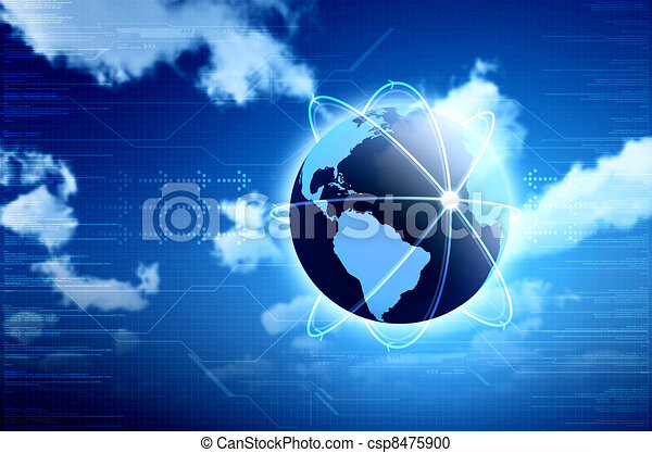 Conceptual image for information technology, cloud computing or internet. Great for backgrounds or main image in your design - csp8475900