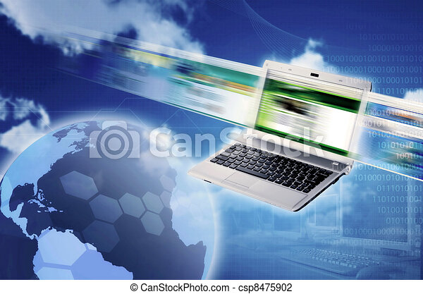 Conceptual illustration for worldwide  internet connectivity and information technology. Great image for Information technology design elements. - csp8475902