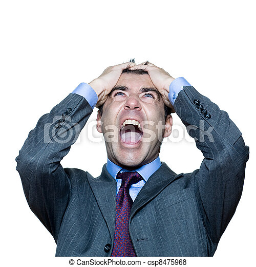 Closeup portrait of angry mature man shouting - csp8475968