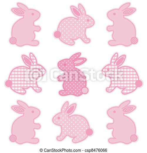 Baby Bunnies, Gingham, Polka Dots - csp8476066