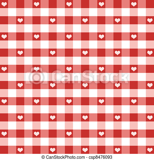 Seamless Gingham and Hearts Pattern - csp8476093