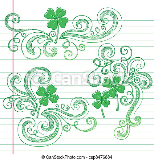 St Patricks Day Shamrock Doodles - csp8476884
