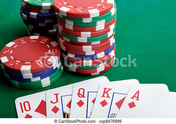 Playing cards and gambling chips - csp8476999