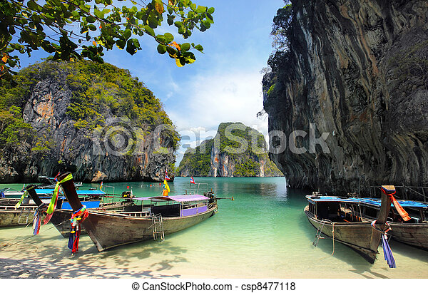 Long tailed boats in Thailand - csp8477118
