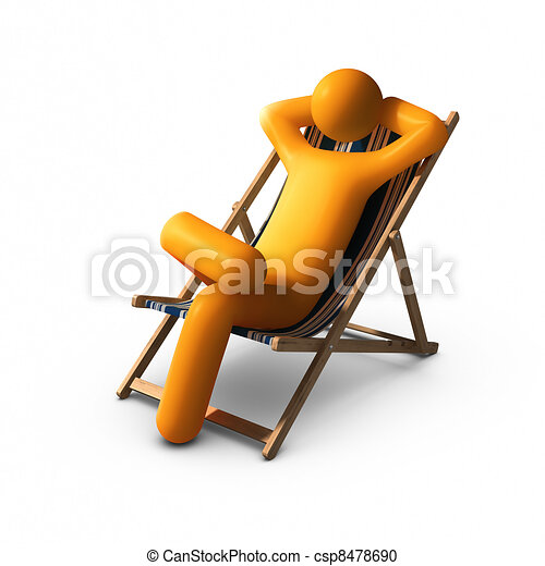 Stock Illustration of Sitting on deck chairs enjoying vacation - Stick ...