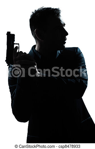 silhouette man portrait with gun - csp8478933