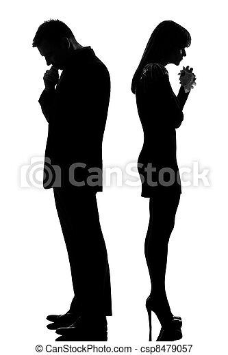 um, triste, par, costas, costas, homem, pensando, mulher, chorando - csp8479057