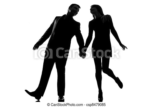 Stock Images of one lovers couple man and woman walking holding ...