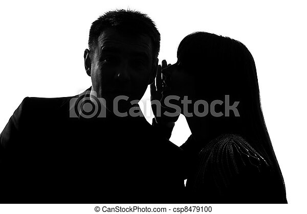 one couple man and woman whispering at ear - csp8479100