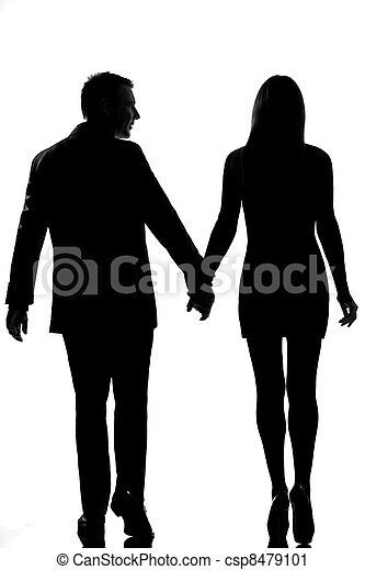 rear view one lovers couple man and woman walking hand in hand - csp8479101