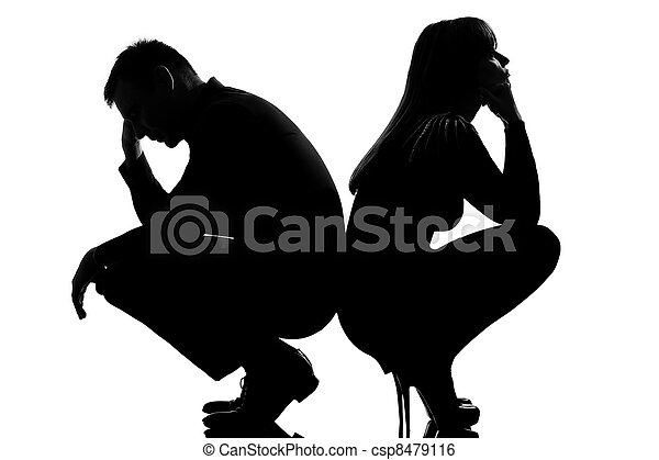 one dispute sad couple man and woman - csp8479116