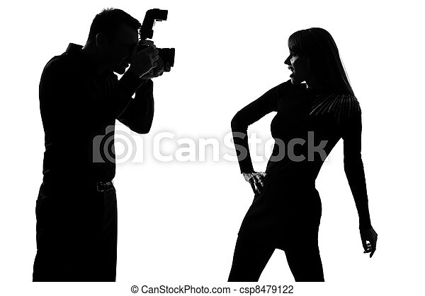 one couple man photographer and woman fashion model - csp8479122