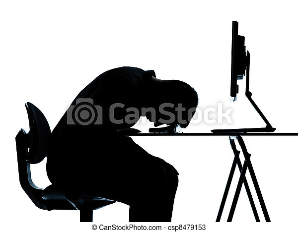 one business man silhouette computer computing sleeping tired - csp8479153
