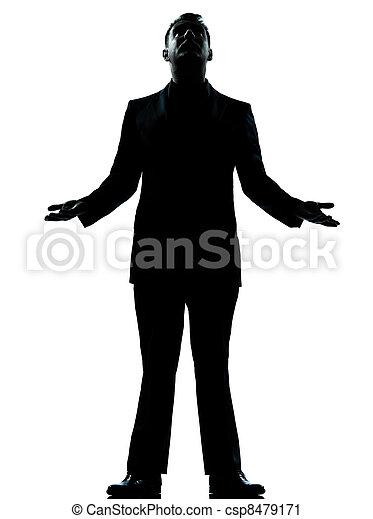 one business man hopeful looking up silhouette - csp8479171