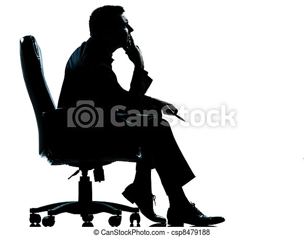 one business man sitting in armchair silhouette - csp8479188