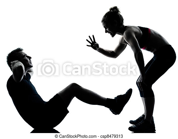 one couple man woman exercising workout fitness - csp8479313