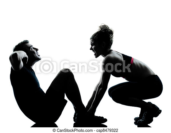one couple man woman exercising workout fitness - csp8479322