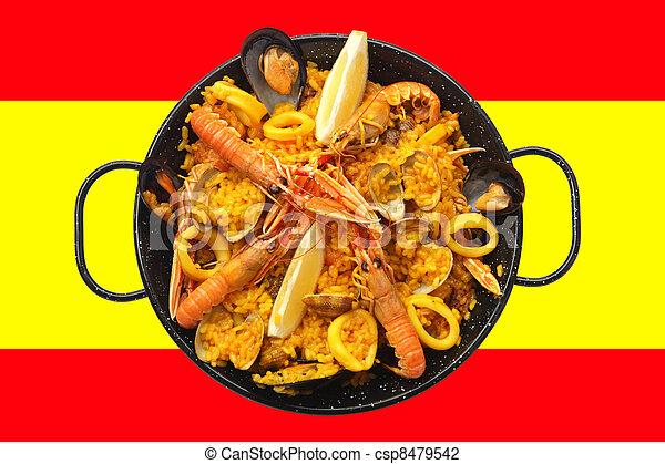 photo de drapeau paella espagnol espagnol tradicional paella csp8479542 recherchez. Black Bedroom Furniture Sets. Home Design Ideas