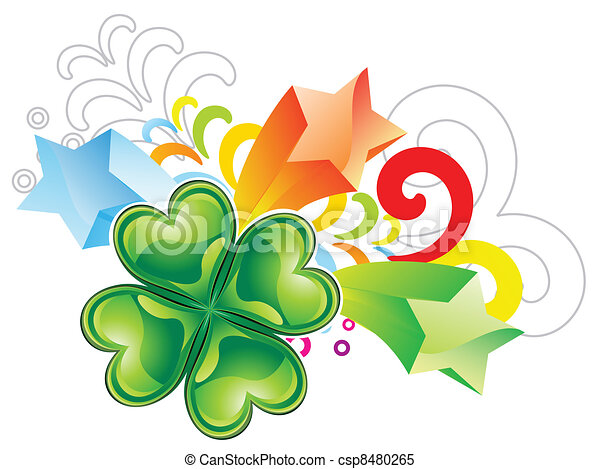 abstract st patrick clover explode - csp8480265