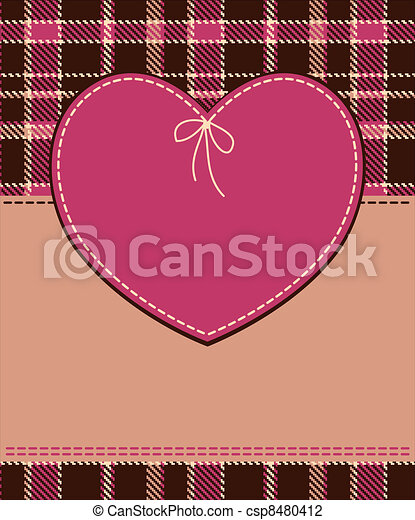 Heart in stitched textile style  - csp8480412