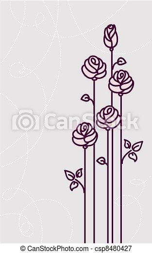 flower roses card vector wedding background  - csp8480427