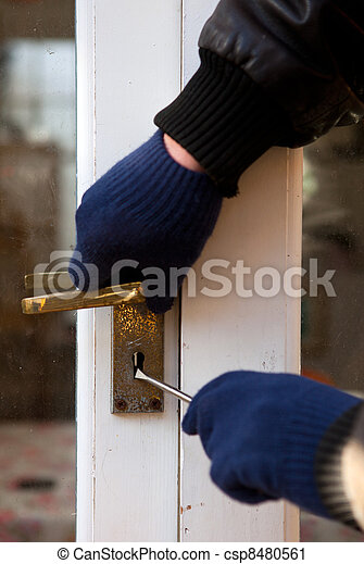 Theif breaking-in burglary security - csp8480561