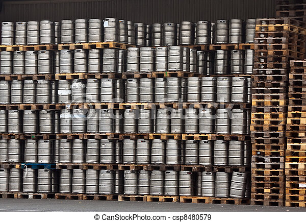 kegs of beer in regular rows - csp8480579