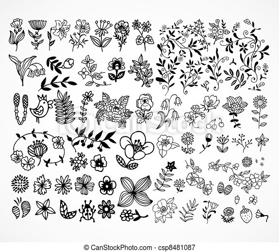 Set of black flower design elements - csp8481087
