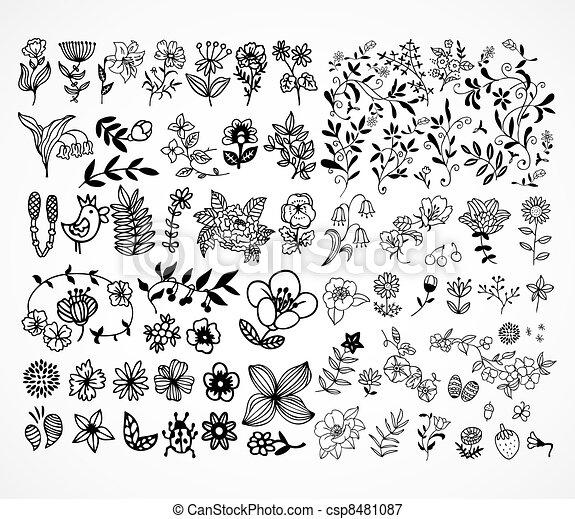 Set of black flower design elements  - csp8481087