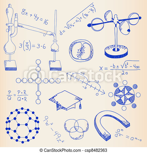 Hand Drawn Science Icon Set - csp8482363