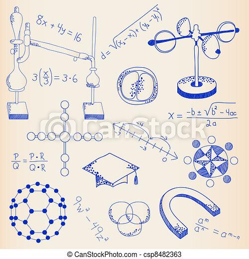 Hand Drawn Science Icon Set - csp8482363