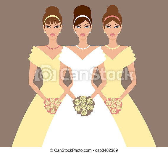 Bride and Bridesmaids in Yellow - csp8482389